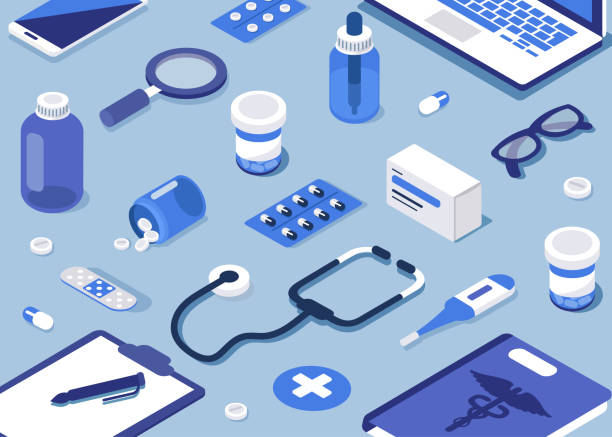 pharmacy Pharmacy concept. Modern 3d isometry image. Flat style isometric vector illustration. aspirin stock illustrations