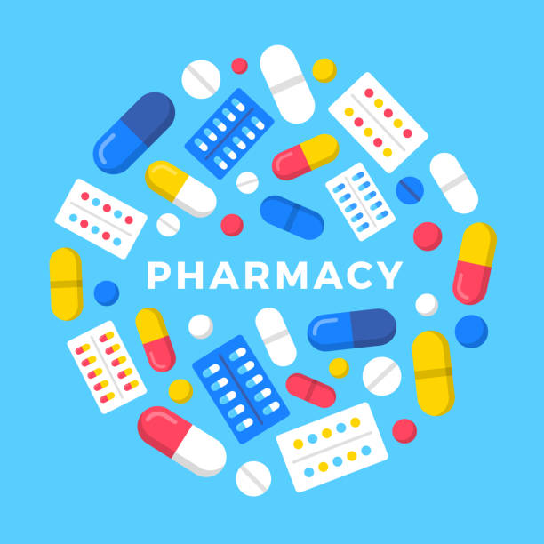 Pharmacy. Vector illustration. Pills, drugs, tablets in blister pack and capsules. Modern flat design vector art illustration