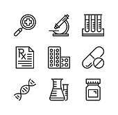 Pharmacy vector line icons. Prescription medicine, pharmaceutical chemistry concepts. Simple outline symbols, modern linear graphic elements collection. Premium quality. Vector thin line icons set