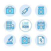 Pharmacy vector line icons set. Prescription medicine, drugs, pills, medication outline symbols. Linear, thin line style. Simple stroke outline graphic elements for web design, websites, mobile app. Round icons