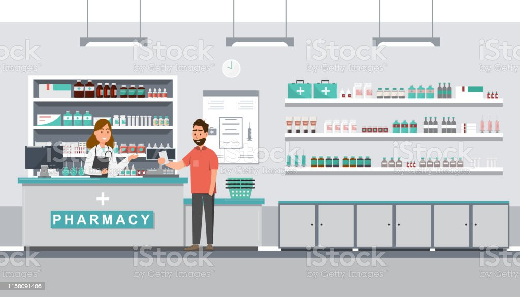 pharmacy with pharmacist and client in counter - Royalty-free Cliente arte vetorial