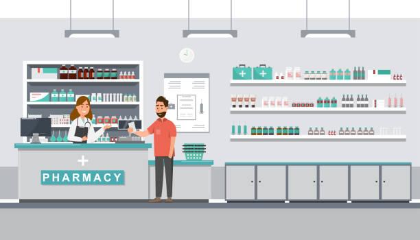 illustrazioni stock, clip art, cartoni animati e icone di tendenza di farmacia con farmacista e cliente in banco - farmacia