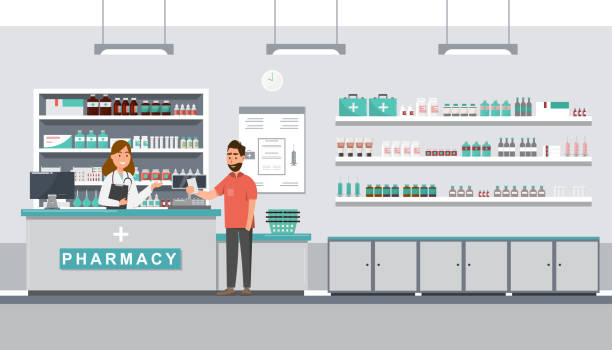 pharmacy with pharmacist and client in counter pharmacy with pharmacist and client in counter. drugstore cartoon character design vector illustration pharmaceutical industry stock illustrations