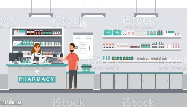 Pharmacy With Pharmacist And Client In Counter - Arte vetorial de stock e mais imagens de Cliente