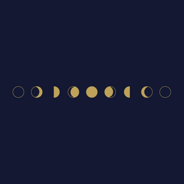 illustrazioni stock, clip art, cartoni animati e icone di tendenza di le fasi dell'icona astronomica lunare impostano l'illustrazione vettoriale. - luna gibbosa