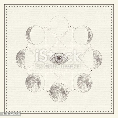 istock Phases of the moon with all-seeing eye and sacred geometry. Monochrome hand drawn vector illustration 1199148790