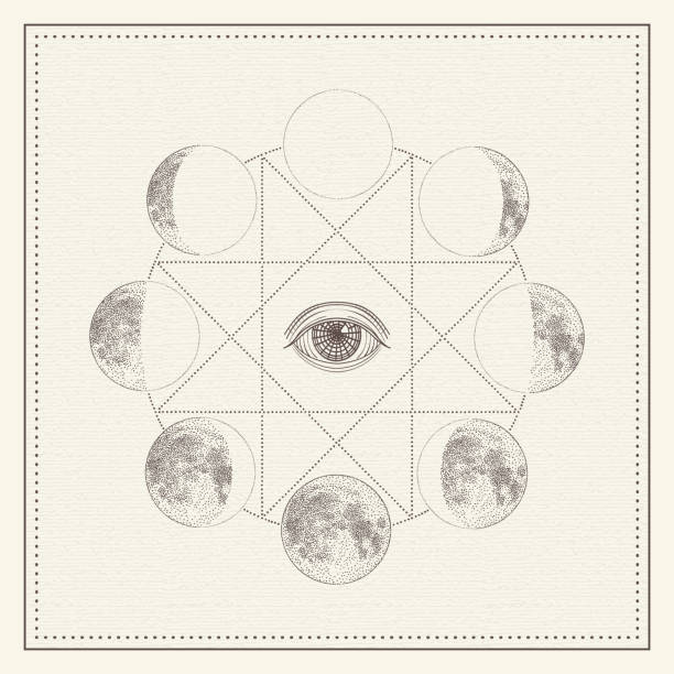Phases of the moon with all-seeing eye and sacred geometry. Monochrome hand drawn vector illustration Phases of the moon with all-seeing eye and sacred geometry. Monochrome hand drawn vector illustration, isolated on white background alchemy stock illustrations