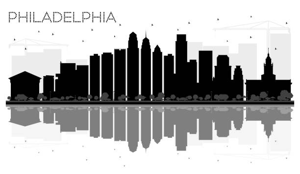 philadelphia city skyline black and white silhouette with reflections. - philadelphia skyline stock illustrations, clip art, cartoons, & icons