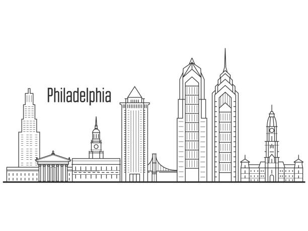 philadelphia city skyline - downtown cityscape, towers and landmarks in liner style - philadelphia skyline stock illustrations, clip art, cartoons, & icons