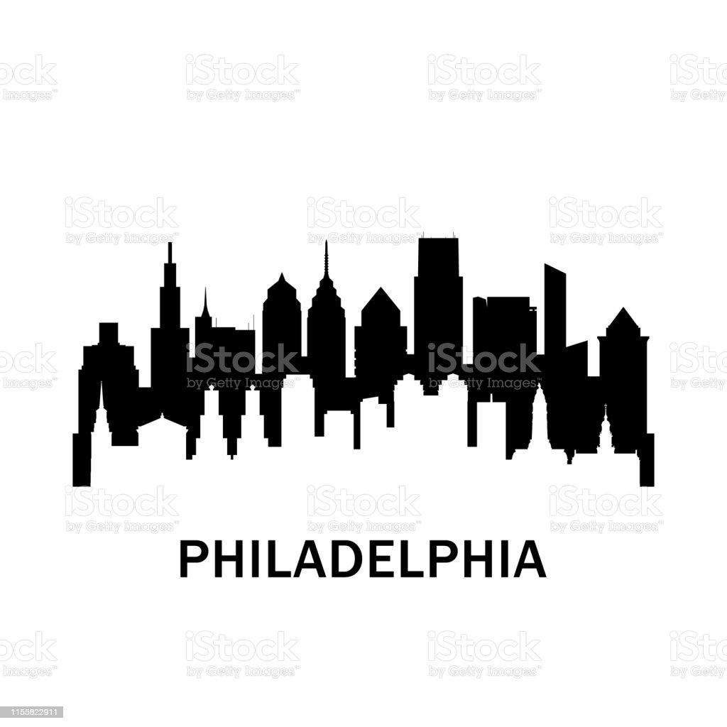 philadelphia city skyline negativer raum stadtsilhouette vector  illustration stock vektor art und mehr bilder von abstrakt - istock  istock
