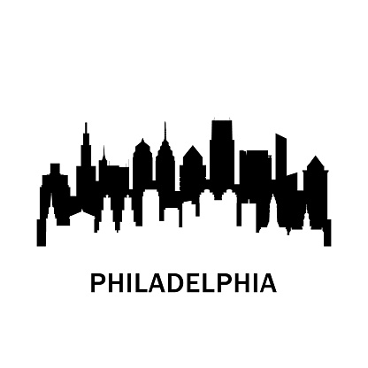 Philadelphia city skyline. Negative space city silhouette. Vector illustration.