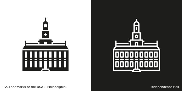 Philadelphia - Independence Hall Famous American landmark icon in line and glyph style. declaration of independence stock illustrations
