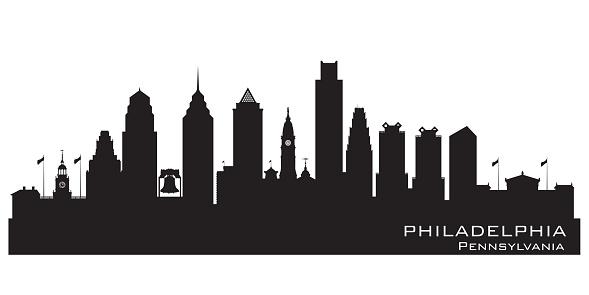 Philadelphia Pennsylvania City skyline silhouette