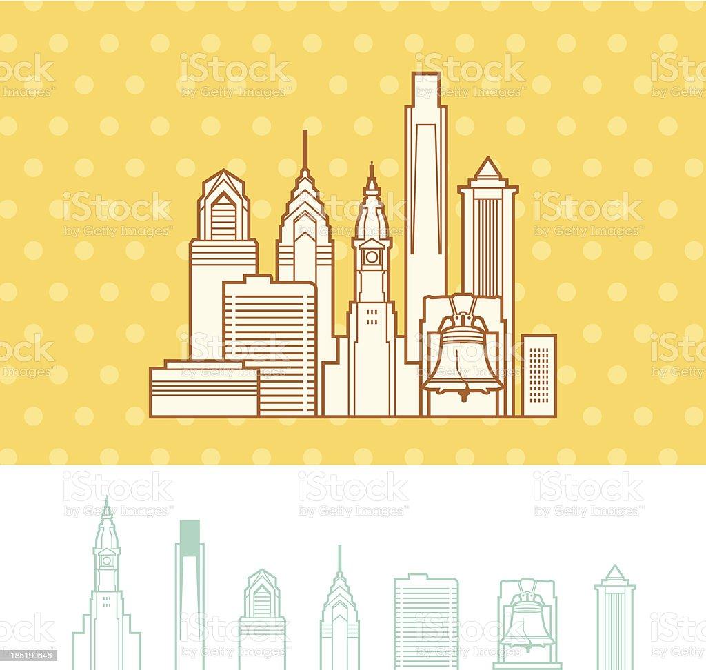 Philadelphia, Pennsylvania Cityscape Skyline royalty-free stock vector art