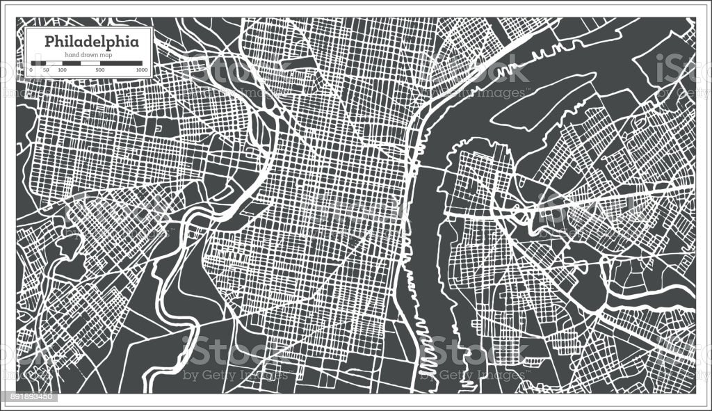 Philadelphia Pennsylvania USA Map in Retro Style. Outline Map. vector art illustration