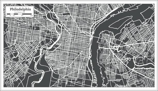 Royalty free philadelphia map clip art vector images philadelphia pennsylvania usa map in retro style outline map vector art illustration freerunsca Gallery
