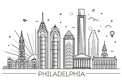 Philadelphia. Pennsylvania USA. Skyline with panorama