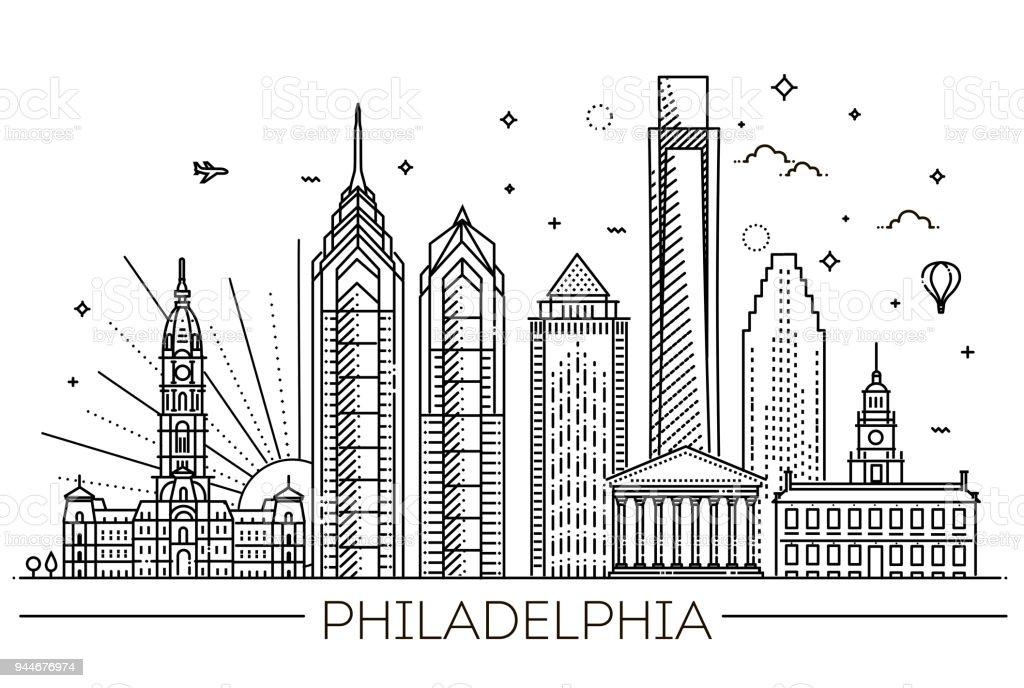 Philadelphia. Pennsylvania USA. Skyline mit panorama – Vektorgrafik