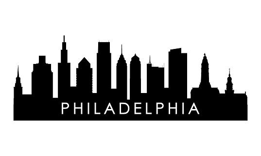 Philadelphia skyline silhouette. Black Philadelphia city design isolated on white background.