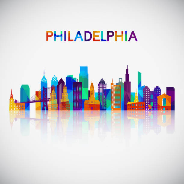 philadelphia skyline silhouette in colorful geometric style. symbol for your design. vector illustration. - philadelphia skyline stock illustrations, clip art, cartoons, & icons