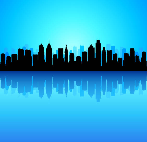 philadelphia skyline (all buildings are moveable and complete) - philadelphia skyline stock illustrations, clip art, cartoons, & icons