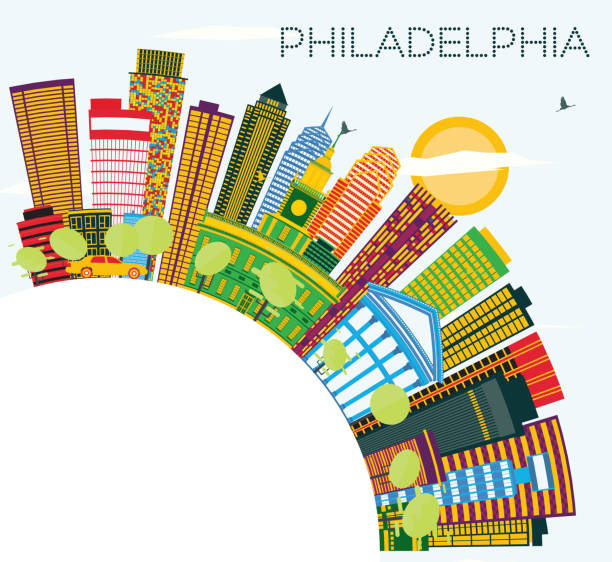 philadelphia skyline with color buildings, blue sky and copy space. - philadelphia skyline stock illustrations, clip art, cartoons, & icons