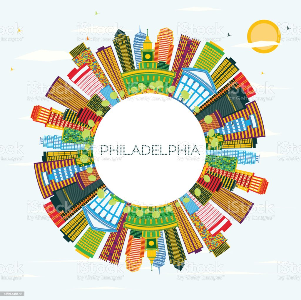 Philadelphia Skyline with Color Buildings, Blue Sky and Copy Space. - Royalty-free Amarelo arte vetorial