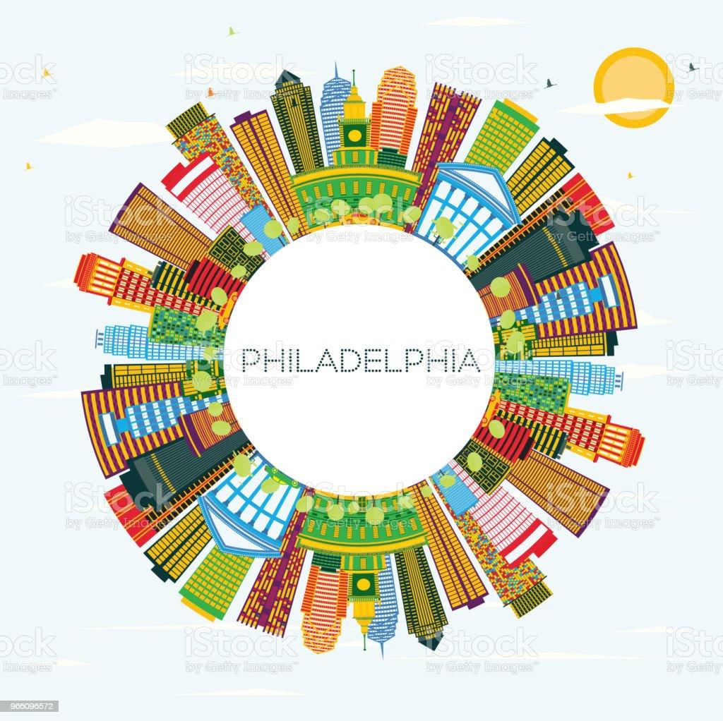 Philadelphia Skyline med färg byggnader, blå himmel och kopia utrymme. - Royaltyfri Arkitektur vektorgrafik