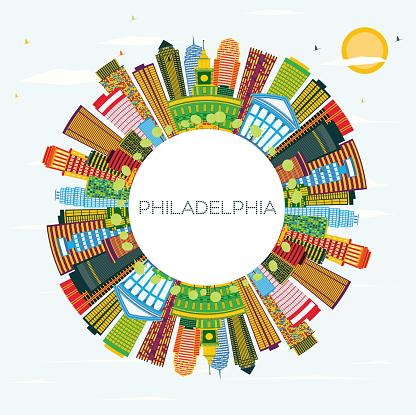 Philadelphia Skyline Med Färg Byggnader Blå Himmel Och Kopia Utrymme-vektorgrafik och fler bilder på Arkitektur