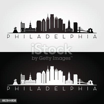Philadelphia USA skyline and landmarks silhouette, black and white design, vector illustration.