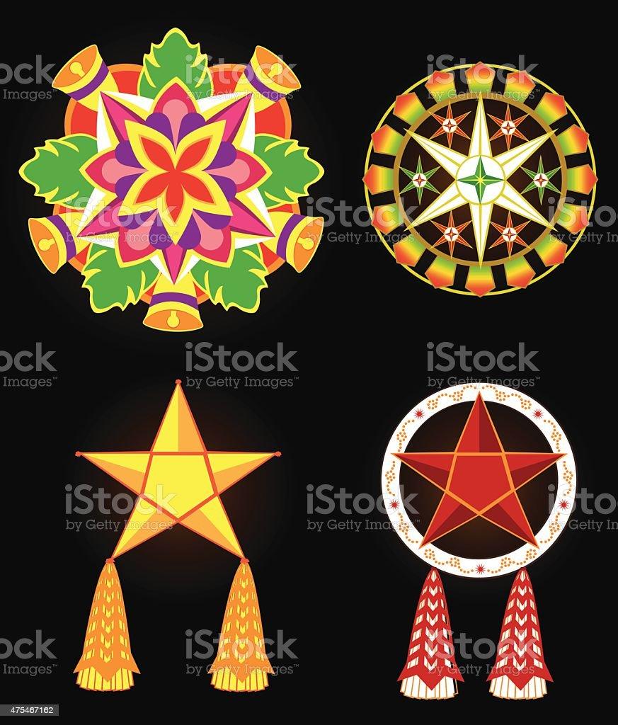 Philippine Commercial Christmas Lantern Decorations vector art illustration
