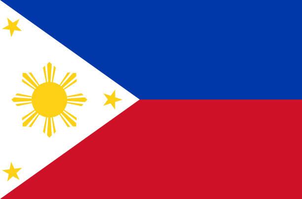 stockillustraties, clipart, cartoons en iconen met filippijnse nationale vlag. officiële vlag van de filippijnen nauwkeurige kleuren, ware kleuren - filipijnen
