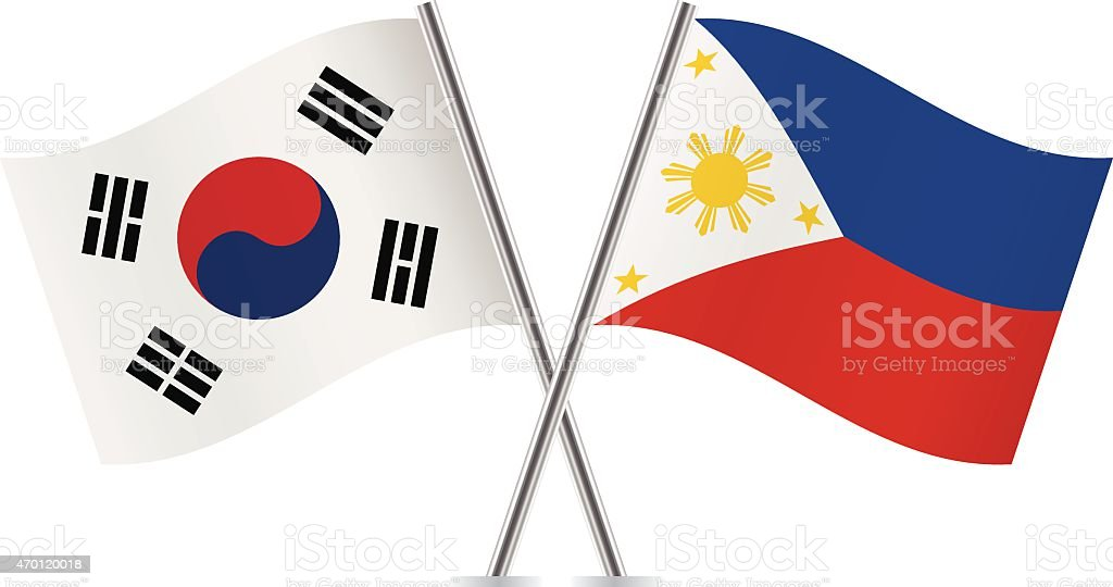 Filipinas, Coreia do Sul flags. Vetor. - ilustração de arte em vetor