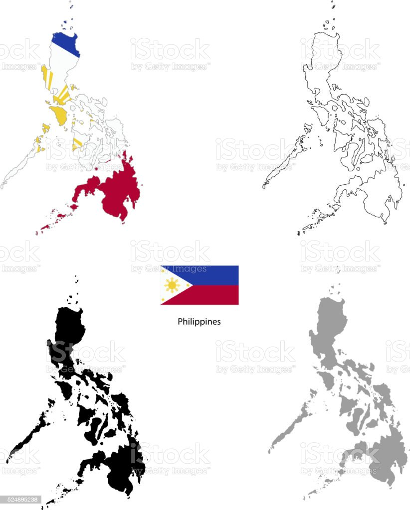 Philippines country black silhouette and with flag on background vector art illustration