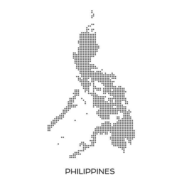 stockillustraties, clipart, cartoons en iconen met philippines dot halftone pattern map - filipijnen