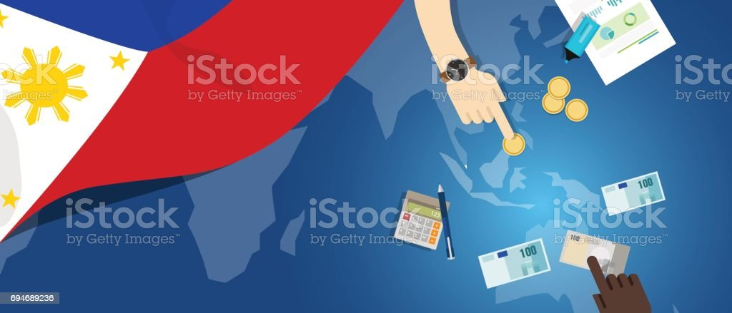 Philippines economy fiscal money trade concept illustration of financial banking budget with flag map and currency vector art illustration