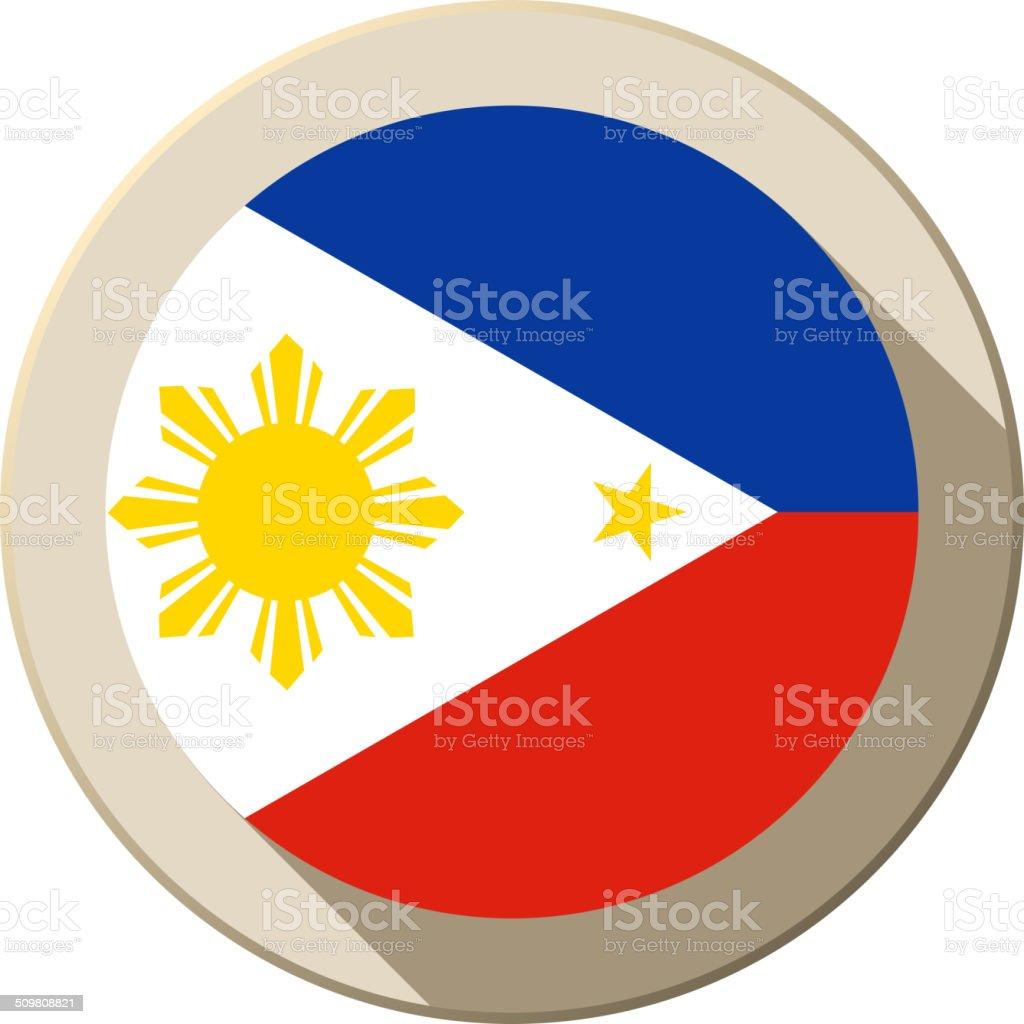 Philippines Flag Button Icon Modern vector art illustration