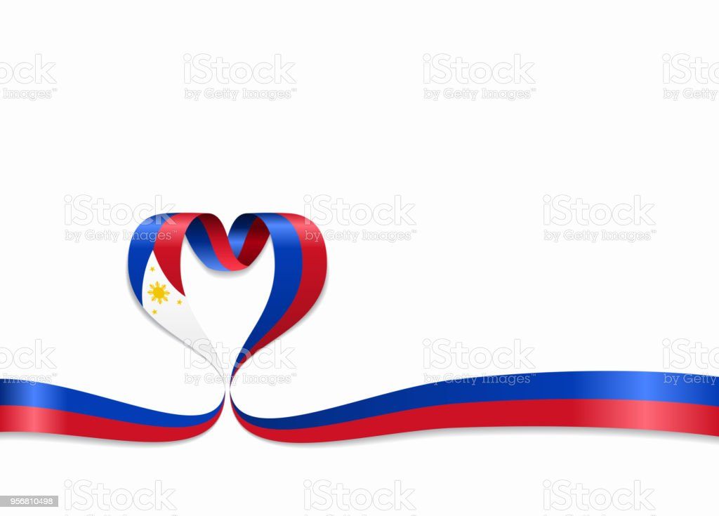 Philippines flag heart-shaped ribbon. Vector illustration. vector art illustration