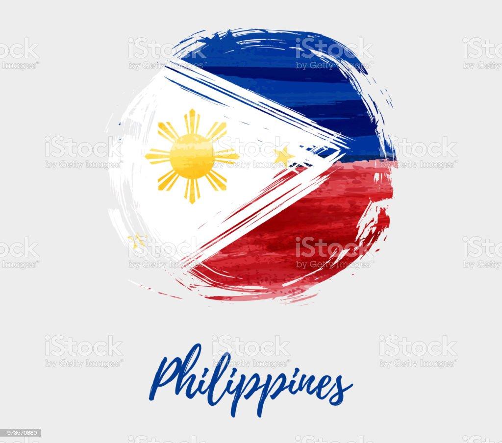 Philippines flag in grunge round shape background vector art illustration
