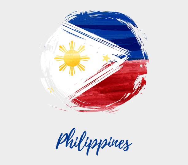 stockillustraties, clipart, cartoons en iconen met vlag van de filipijnen in grunge ronde vorm achtergrond - filipijnen