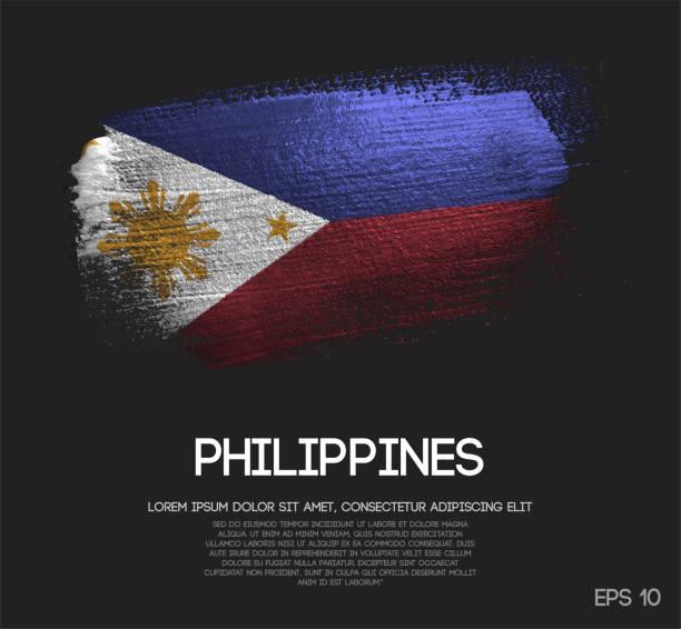 stockillustraties, clipart, cartoons en iconen met vlag van de filipijnen gemaakt van glitter sparkle brush verf vector - filipijnen