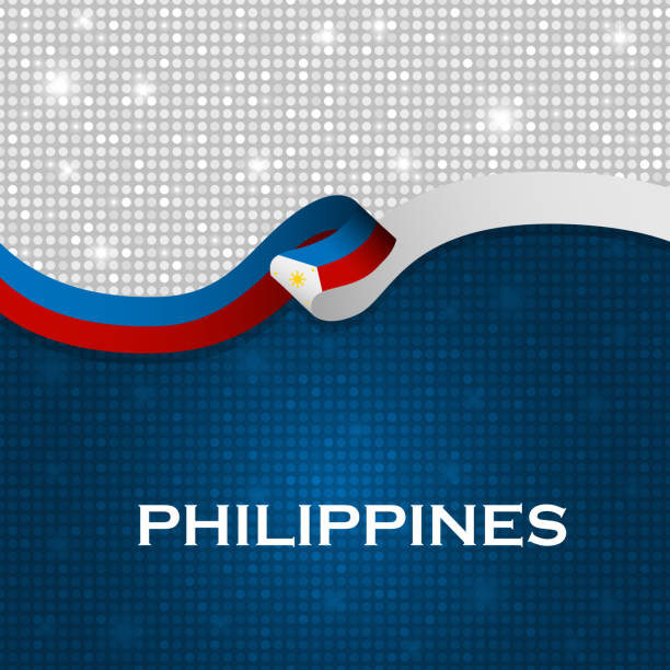 Philippines flag ribbon shiny particle style. Vector Illustration vector art illustration