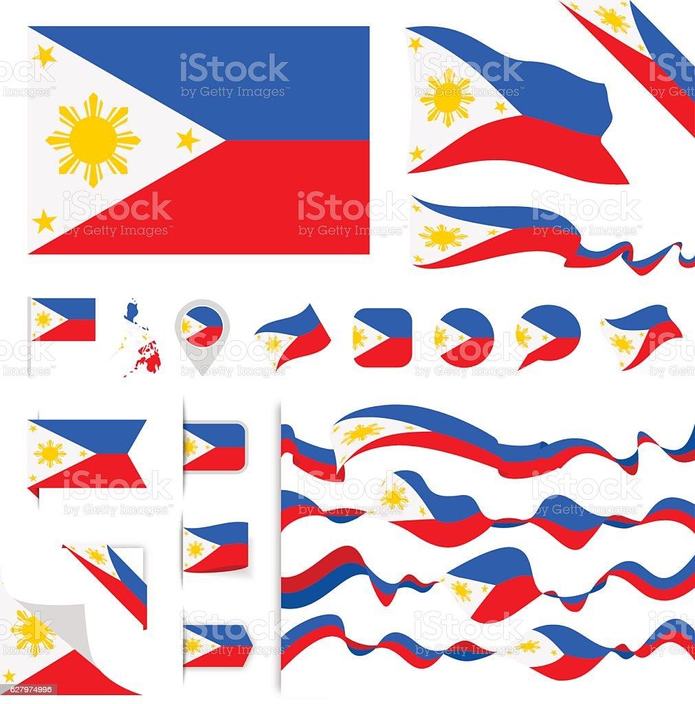 Philippines Flag Set vector art illustration