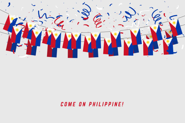 stockillustraties, clipart, cartoons en iconen met filippijnen garland vlag met confetti op grijze achtergrond, hang bunting voor filippijnen viering sjabloon banner. - filipijnen