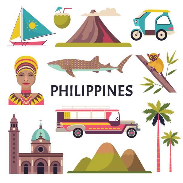 stockillustraties, clipart, cartoons en iconen met filippijnen pictogrammen instellen. - filipijnen
