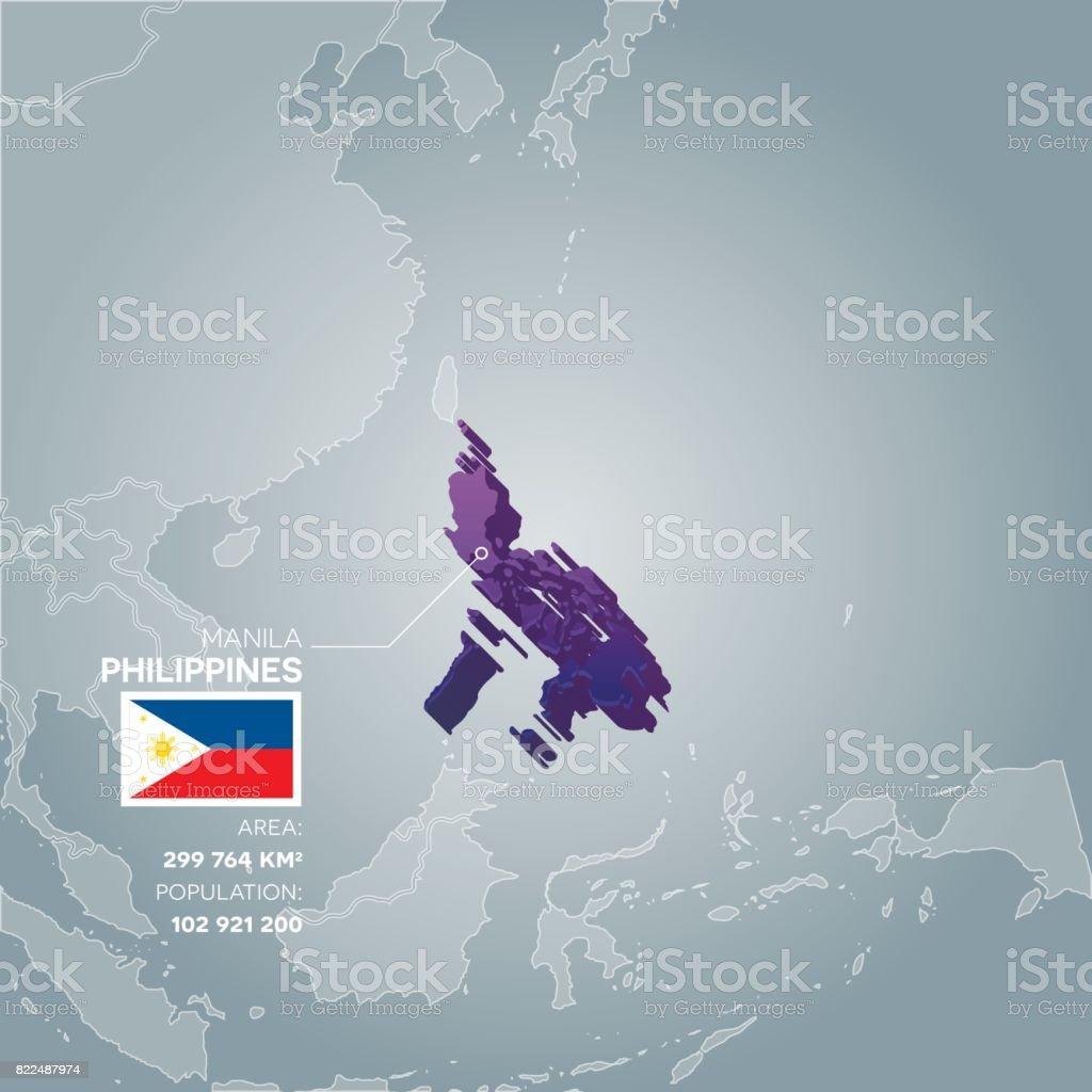 Philippines information map. vector art illustration