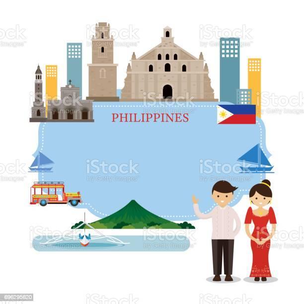 Philippines Travel Turism Set Stock Illustration