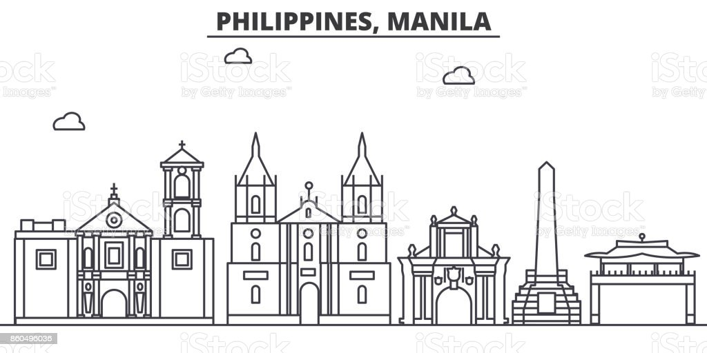 Philippines, Manila architecture line skyline illustration. Linear vector cityscape with famous landmarks, city sights, design icons. Landscape wtih editable strokes vector art illustration