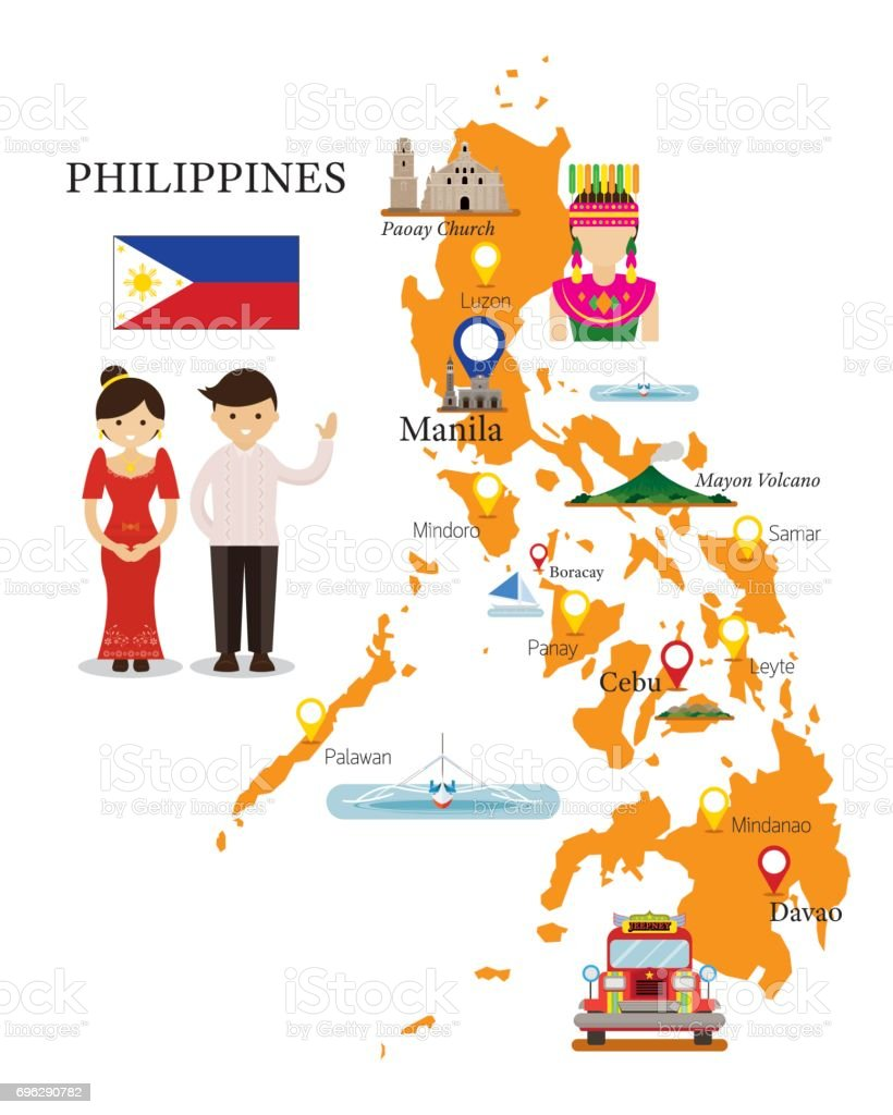 Philippines Map and Landmarks with People in Traditional Clothing vector art illustration