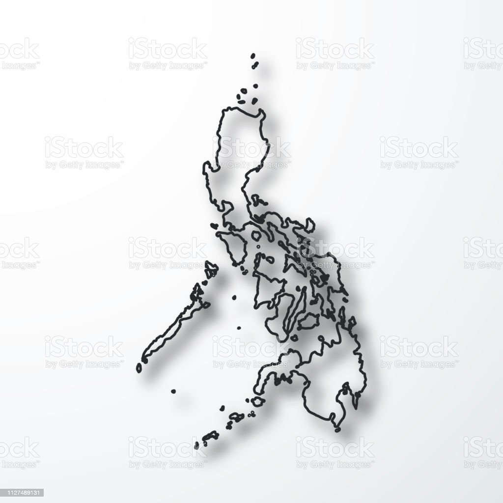 Image of: Philippines Map Black Outline With Shadow On White Background Stock Illustration Download Image Now Istock
